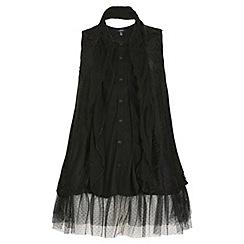 Samya - Black acrylic lace plain colour tunic top