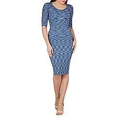 Apricot - Blue ribbed midi dress