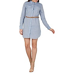 Apricot - Blue stripy belted shirt dress