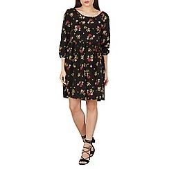 Apricot - Black ditsy flower smock dress
