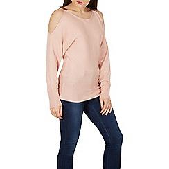 Apricot - Pink buckle cold shoulder jumper