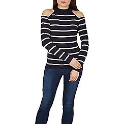 Apricot - Navy stripy cold shoulder jumper