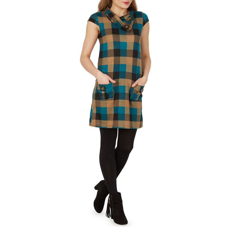 Izabel London Beige Checked Tunic Dress, Womens, Size: 8,