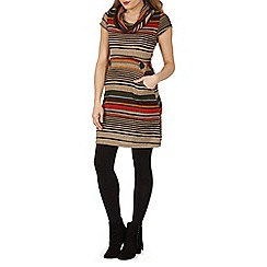 Izabel London - Brown cowl neck print dress