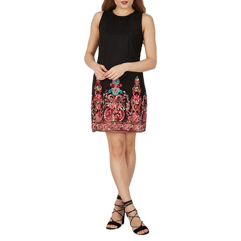 Izabel London Black Embroidered Shift Dress, Womens, Size: