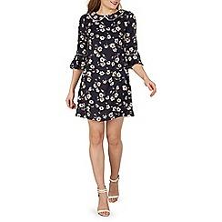Izabel London - Navy clover print shift dress