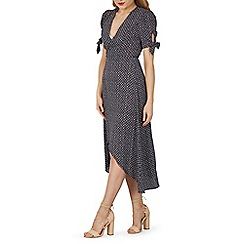 Izabel London - Blue tie sleeves wrap maxi dress