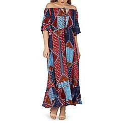 Izabel London - Multicoloured patch print bardot maxi dress