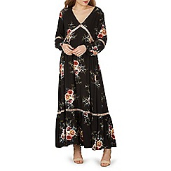 Izabel London - Black floral print ladder detail maxi dress