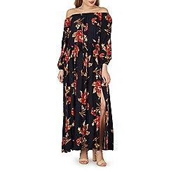 Izabel London - Navy floral print bardot maxi dress