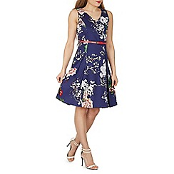 Izabel London - Blue floral print fit flare dress with belt