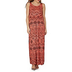 Izabel London - Dark orange relaxed fit tribal maxi dress