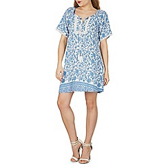 Izabel London - Light blue floral print bobble trim dress