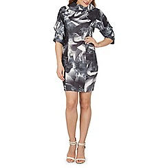 Izabel London - Black abstract print midi dress