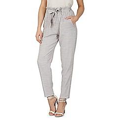 Izabel London - Light grey ruffle waist trim tie pants