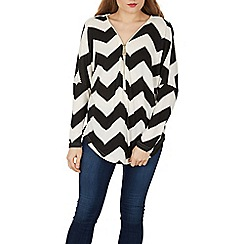 Izabel London - White chevron print zip jersey top