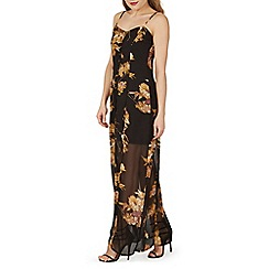 Izabel London - Black floral print side splits maxi dress