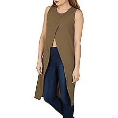 Izabel London - Khaki round neck wrap tunic with necklace