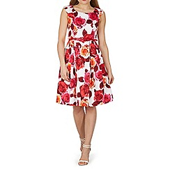 Izabel London - Pink cap sleeve rose print fit & flare dress
