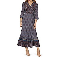 Izabel London - Navy bohemian style wrap maxi dress