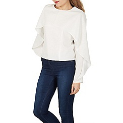 Izabel London - Cream cape detail jersey top
