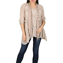 Stella Morgan - Beige layered scarf top