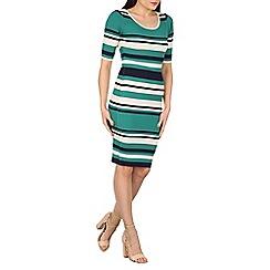 Apricot - Green stripy midi dress