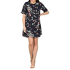 Apricot - Navy floral swing dress