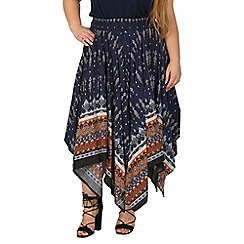Samya - Navy plus size mix print midi skirt