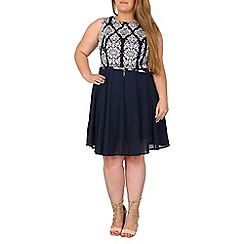 Samya - Navy plus size tile printed skater dress