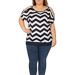 Samya - Navy peep shoulder zig zag top