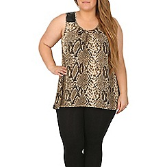 Samya - Brown oval neck snake print top