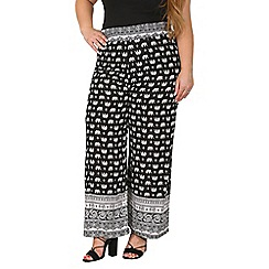 Samya - Black elephant print viscose pants