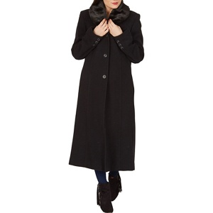 David Barry Black faux fur collar maxi coat