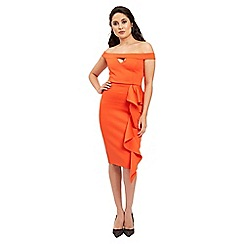 Jane Norman - Orange ruffle v neck dress