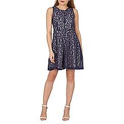 Blue Vanilla - Navy zip through sleeveless lace dress