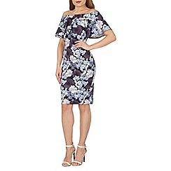 Blue Vanilla - Multicoloured bodycon floral frill bardot dress