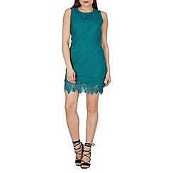 Apricot - Green lace shift dress
