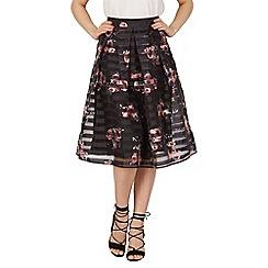 Apricot - Black floral mesh panel skirt