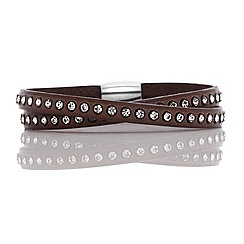 Fervor Montreal - Brown Italian leather wrap with Swarovski crystals