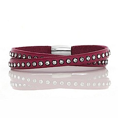 Fervor Montreal - Red Italian leather wrap with Swarovski crystals