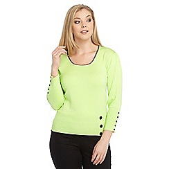 Roman Originals - Bright green contrast button jumper