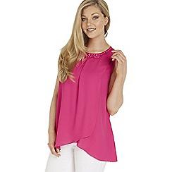 Roman Originals - Bright pink beaded neck top