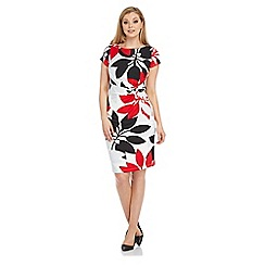 Roman Originals - Red contrast leaf dress