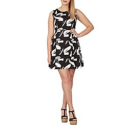 Samya - Black sleeveless printed skater dress