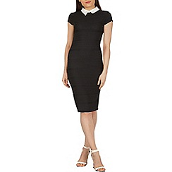 Izabel London - Black bodycon dress with collar detail