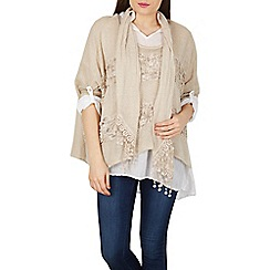Izabel London - Beige layered scarf top