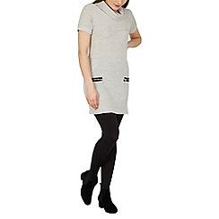 Izabel London - Light grey roll neck knit dress with zip details