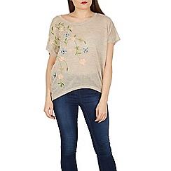 Apricot - Grey floral embroidered shoulder top