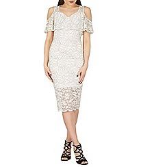 Blue Vanilla - Cream bardot cold shoulder lace overlay dress